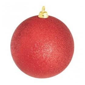 Bola de natal vermelha c/ glitter, 25 cm