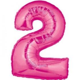 Mega balão em forma de número, rosa, 102 cm